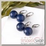 Серьги шар №20 Агат, цвет синий - бижутерия