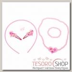 Набор детский Выбражулька 6 предметов: ободок, 2 заколки, бусы, браслет, кольцо, сердечки, цвет розовый - бижутерия