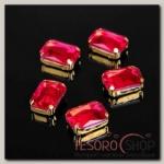 Стразы в цапах (набор 5 шт), 10x14мм, цвет красный в золоте