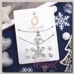 Гарнитур 6 предметов: 4 пары пусет, кулон, браслет Олень и снежинка, цвет белый в серебре - бижутерия