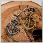 Кулон мужской Неразлучники якорь, цвет серо-золотой, 50 см - бижутерия