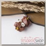 Подвеска крошка с жемчугом Авантюрин коричневый - бижутерия