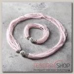 Набор 2 предмета: бусы, браслет Хрусталь с бисером, цвет розовый матовый - бижутерия