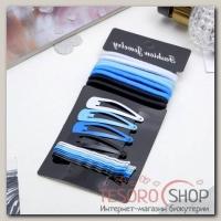 Набор для волос Классика (8 резинок, 12 невидимок) 4,5 см, 6 см, голубой - бижутерия