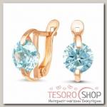 Серьги Амели, позолота, цвет голубой - бижутерия