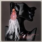 Серьги перья Мираж вальс, цветной - бижутерия