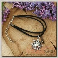 Браслет ассорти Таинственная незнакомка солнце, цвет чёрный с чернёным серебром - бижутерия