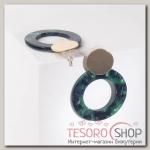 Серьги пластик Леди акварель, цвет зелёный в золоте - бижутерия