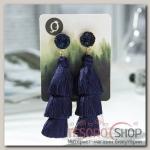Серьги Кисти ванесса, цвет тёмно-синий, L кисти 5,5 см - бижутерия