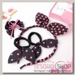 Набор для волос Солоха (ободок, 3 резинки) розовый горошек - бижутерия