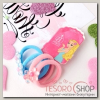 Резинка для волос Перламутр (набор 4 шт) цветочки голубой, розовый - бижутерия
