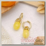 Серьги Янтарь оливки, цвет молочный в золоте - бижутерия