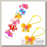 Резинки для волос Тюльпан (набор 12 шт.), бабочка - бижутерия