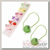 Резинки для волос Прозрачные (набор 12 шт.), цветок, яблочко - бижутерия