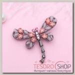 Брошь Стрекоза, цвет сиренево-розовый в сером металле