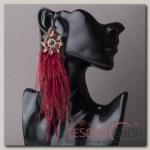 Серьги перья Искра, цвет бордовый в золоте - бижутерия