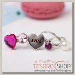 Набор детских колец Выбражулька любовь, форма МИКС, цвет розовый - бижутерия
