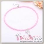 Набор 2 предмета: серьги, колье Ванесса цветок, цвет розовый в серебре - бижутерия