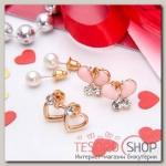 """Пуссеты 3 пары """"Бабочка и сердечко"""", цвет розовый в золоте - бижутерия"""