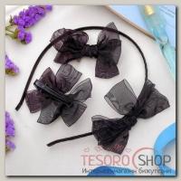 Набор для волос Воздушный (2 зажима,1 ободок) черный - бижутерия