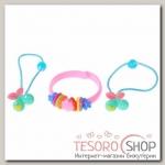 Набор детский Выбражулька 3 предмета: 2 резинки, браслет, вишенка, цвет МИКС - бижутерия