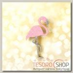 Брошь деревянная Сверкающий фламинго, цвет розовый