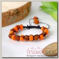 Браслет шамбала Рудракша, цвет оранжево-коричневый - бижутерия