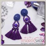 Серьги ассорти Кисти арабик, цвет фиолетовый, L кисти 4,5 см - бижутерия