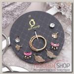 Пусеты с кольцами Настроение совы и перья, цветные в золоте - бижутерия