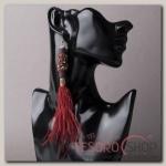 Серьги перья Мираж хрусталики, цвет бордовый - бижутерия