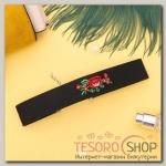 Чокер Роуз вышивка, цветы розы, цвет красно-зелёный в чёрном - бижутерия