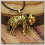 Кулон мужской Волк, цвет чернёное золото - бижутерия