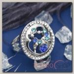 Кольцо Круг с узором внутри, цвет бело-голубой в серебре, размер 17,18,19 микс
