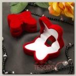 Футляр под серьги/кольцо Бабочка, 5x5,5x2,5, цвет красный, вставка белая - бижутерия