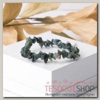 Браслет крошка на резинке Яшма зелёная - бижутерия