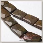 Бусины прямоугольник гранёный Яшма (11 бусин), цвет коричневый