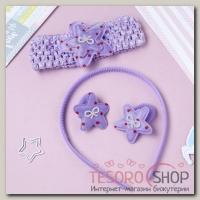 Набор для волос Феечка (1 ободок,1 повязка, 2 резинки) звезда, фиолетовый - бижутерия