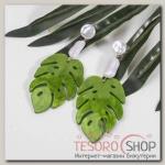 Серьги ассорти Лепесток, цвет зелёно-белый - бижутерия