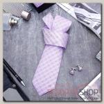 Набор мужской Стиль галстук 145x5см, запонки, линии, цвет сиреневый - бижутерия