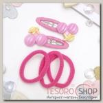 Набор для волос Мусечка (2 невидимки, 3 резинки) вишенки, розовый - бижутерия