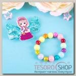 Набор детский Выбражулька 2 предмета: заколка, браслет, девочка с крылышками, цвет МИКС - бижутерия