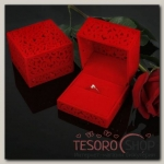 Футляр под кольцо Резной куб, 6x6, цвет красный - бижутерия