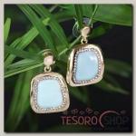 Серьги эмаль Прямоугольник с кругом, цвет голубой в золоте - бижутерия