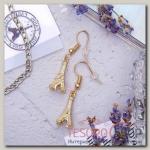 Серьги металл Париж, цвет золото - бижутерия