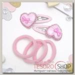 Набор для волос Пумпушка (2 невидимки, 3 резинки) сердечки бантики, розовый - бижутерия