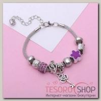 """Браслет ассорти """"Марджери"""" ключик, цвет фиолетовый в серебре - бижутерия"""