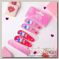 Невидимка для волос Весёлый глянец (набор 4 шт) единороги на радуге 5 см, розовый - бижутерия