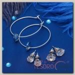 Пусеты 3 пары Кольца овал, цвет бело-синий в серебре - бижутерия