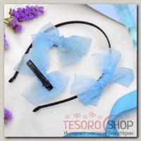 Набор для волос Воздушный (2 зажима,1 ободок) голубой - бижутерия