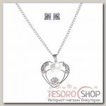 Гарнитур 2 предмета: серьги, кулон Невесомость, сердце, цвет белый в серебре, 45см - бижутерия
